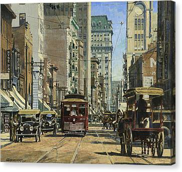Old St. Louis 11th And Olive Canvas Print by Don  Langeneckert