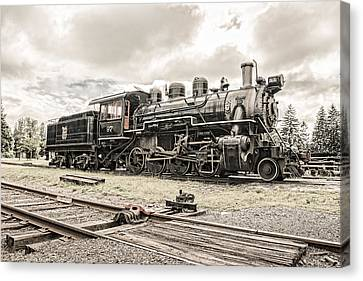 Canvas Print featuring the photograph Old Steam Locomotive No. 97 - Made In America by Gary Heller