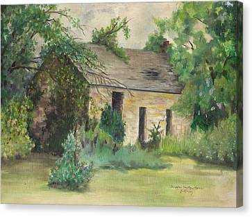 Old Stone Building In Kansas Canvas Print by Sheila Kinsey