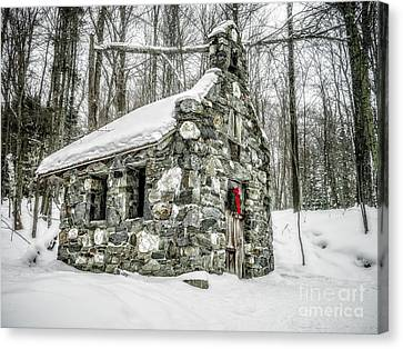 Old Stone Chapel Stowe Vermont Canvas Print by Edward Fielding