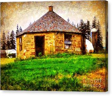 Old Stone Schoolhouse - South Canaan Canvas Print by Janine Riley