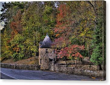 Canvas Print featuring the photograph Old Stone Tower At The Edge Of The Forest by Jonny D