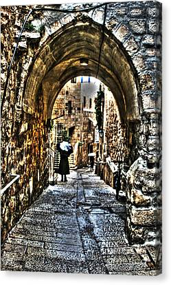 Canvas Print featuring the photograph Old Street In Jerusalem by Doc Braham