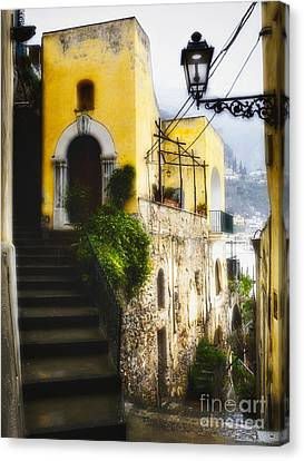 Old Street In Positano Canvas Print by George Oze