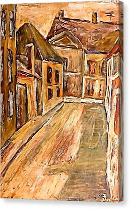 Old Street In The Old Transylvanian City Canvas Print by Ion vincent DAnu