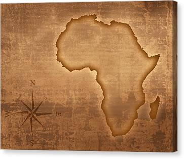Old Style Africa Map Canvas Print