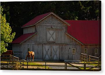 Canvas Print featuring the photograph Old-style Horse Barn by Jordan Blackstone