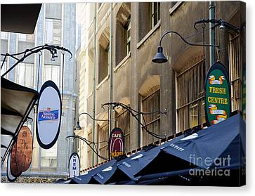 Old-style Signs Above A Melbourne Laneway Canvas Print by David Hill