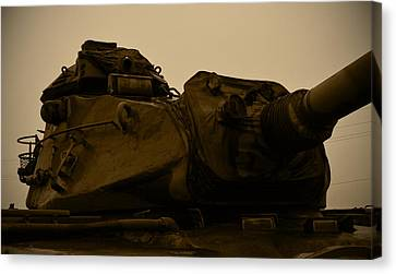 Old Tank Laid Out To Rest Canvas Print by Richard Booth