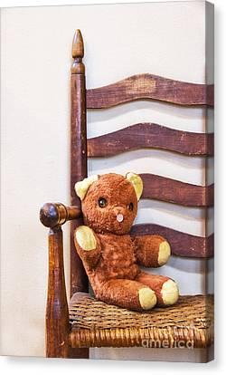 Old Teddy Bear Sitting In Chair Canvas Print by Birgit Tyrrell