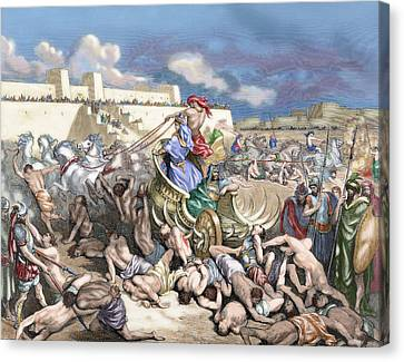 Old Testament Siege Of Rabbah. David Attacks The Ammonites Canvas Print by Gustave Dore