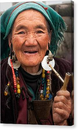 Tibetan Buddhism Canvas Print - Old Tibetan Woman by James Wheeler