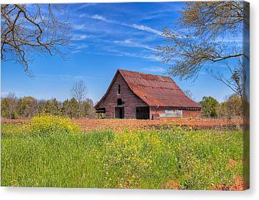 Old Tin Roofed Barn In Spring - Rural Georgia Canvas Print by Mark E Tisdale