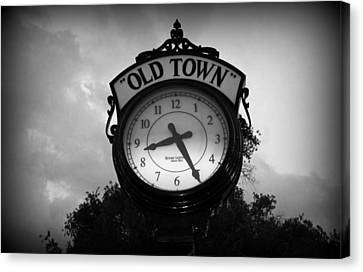 Old Town Clock Canvas Print by Laurie Perry