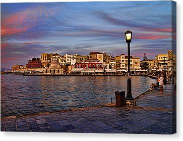 Old Town Harbour In Chania Crete Canvas Print