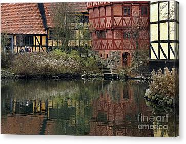 Old Town In Aarhus Canvas Print by Inge Riis McDonald