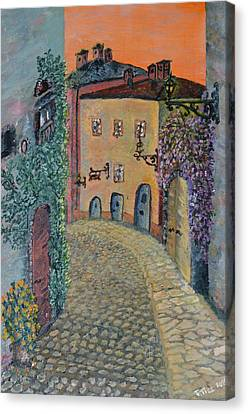 Canvas Print featuring the painting Old Town In Piedmont by Felicia Tica