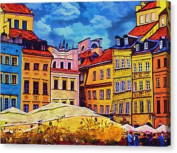 Old Town In Warsaw #1 Canvas Print by Aleksander Rotner