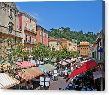 Cours Saleya Canvas Print - Old Town Market In Nice by Alan Kilpatrick