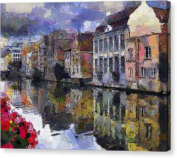 Old Town On River Canvas Print by Yury Malkov