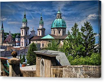 Old Town Salzburg Austria In Hdr Canvas Print by Sabine Jacobs