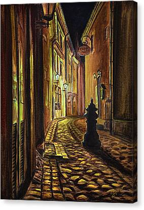 Old Town Street At Night Canvas Print by Gynt Art