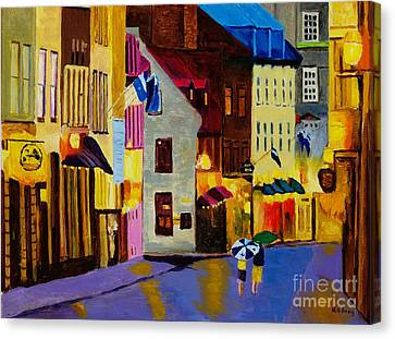 Canvas Print featuring the painting Old Towne Quebec by Rodney Campbell
