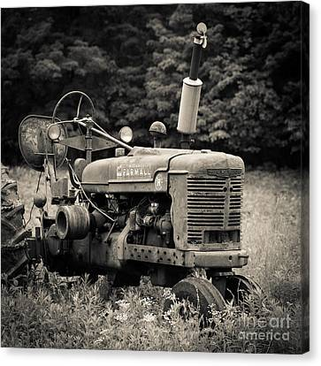 Old Tractor Black And White Square Canvas Print