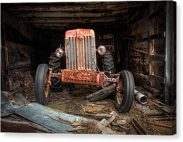 Old Tractor Face Canvas Print by Gary Heller