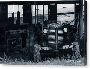 Old Tractor In The Barn Canvas Print