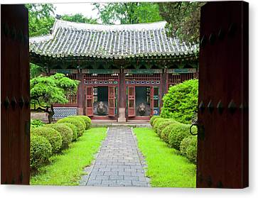 Old Traditional Temple In Kaesong Canvas Print by Michael Runkel