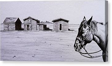Old Cabins Canvas Print - Old Trail Town by Lucy Deane