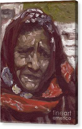 Old Tribal Woman From India Canvas Print by Mukta Gupta