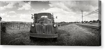Napa Valley And Vineyards Canvas Print - Old Truck In A Field, Napa Valley by Panoramic Images
