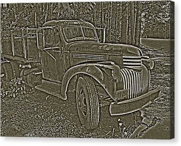Canvas Print featuring the photograph Old Truck In Sepia by Betty Depee