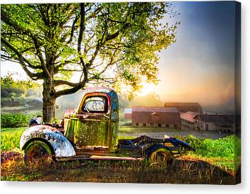 Old Truck In The Morning Canvas Print by Debra and Dave Vanderlaan