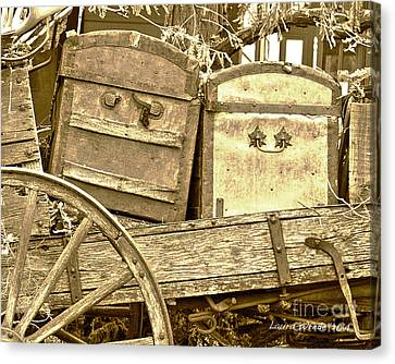 Old Trunks In Genoa Nevada Canvas Print by Artist and Photographer Laura Wrede