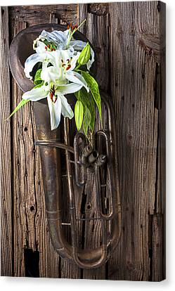 Brass Leafs Canvas Print - Old Tuba And White Lilies by Garry Gay
