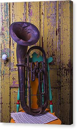 Old Tuba And Yellow Door Canvas Print by Garry Gay