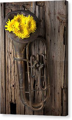 Old Tuba And Yellow Mums Canvas Print by Garry Gay