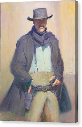 Old Tucson Gun Fighter Canvas Print by Ernest Principato