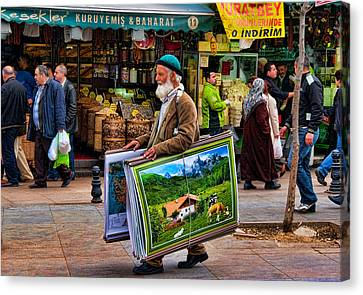 Poster Man At The Istanbul Spice Market Canvas Print by David Smith
