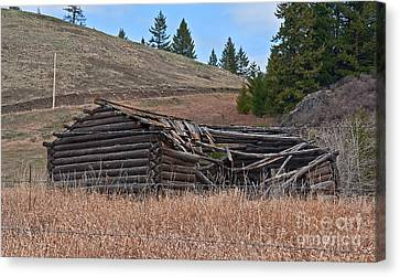 Canvas Print featuring the photograph Old Turn Of The Century Log Cabin Homestead Art Prints by Valerie Garner