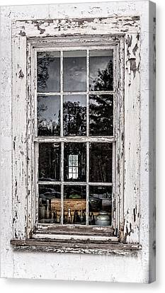Old Twelve Pane Window With Antique Bottles Canvas Print by Edward Fielding