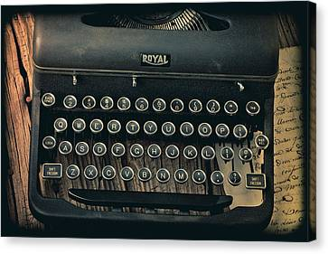 Old Typewriter With Letter Canvas Print