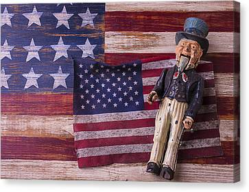 Old Uncle Sam And Flag Canvas Print