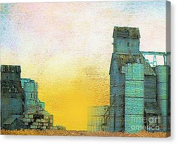 Old Used Grain Elevator Canvas Print by Janette Boyd