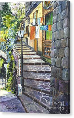 Old Village Stairs - In Tuscany Italy Canvas Print