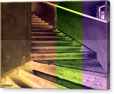 Old Vintage Building Wide Staircases Digitally Painted For Decoration Art Canvas Print