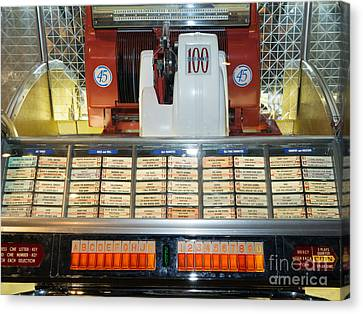 Old Vintage Jukebox Dsc2759 Canvas Print by Wingsdomain Art and Photography